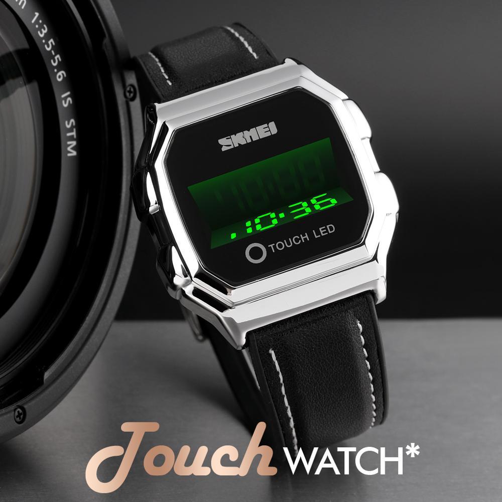 2020 SKMEI 1650 relojes de lujo de negocios para hombres, reloj de pulsera de acero/cuero con pantalla táctil, reloj de pareja, reloj impermeable, reloj Masculino