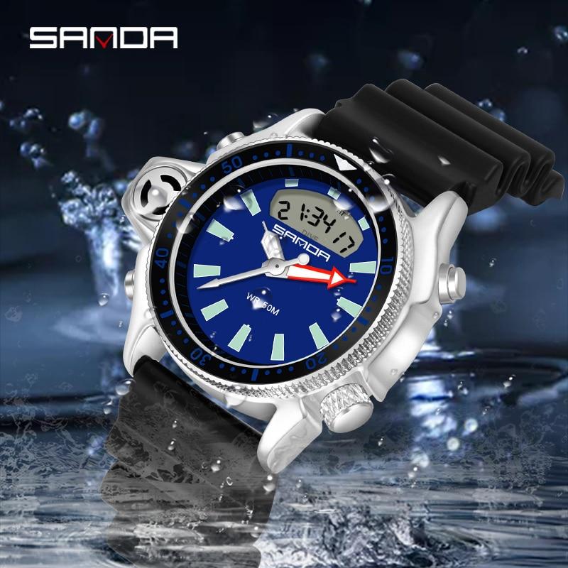 SANDA Men Digital Watches Causal Fashion Led Sport Wristwatch Luxury Brand Blue Dial Waterproof Quartz Wristwatch Erkek Saat