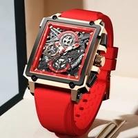 lige 2021 new men watch top brand luxury waterproof quartz square wristwatche for men date sports hollow clock male montre homme