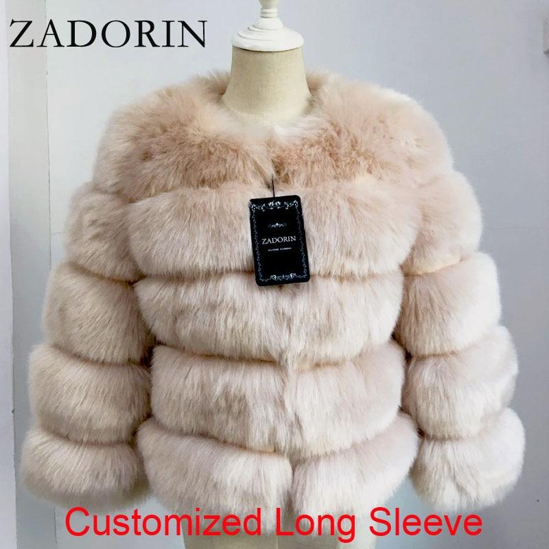 Zadorin Lange Mouw Faux Vos Bontjas Vrouwen Winter Mode Dikke Warme Bontjassen Bovenkleding Nep Bont Jas Plus Size
