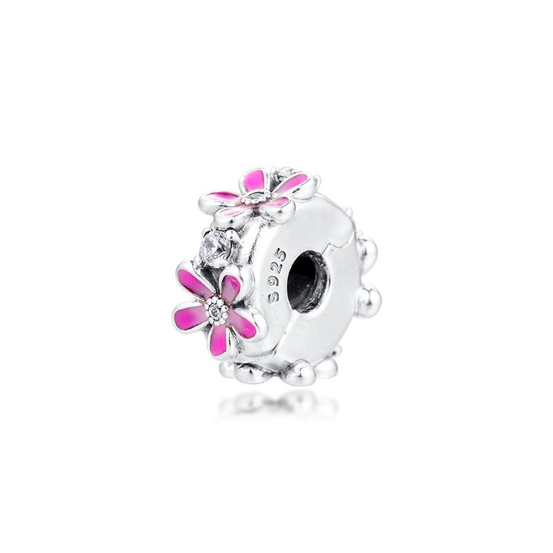 Marguerite rose fleur pince perles pour la fabrication de bijoux printemps bricolage Fit Bracelet à breloques Femme 925 en argent Sterling 2020 bijoux de mode