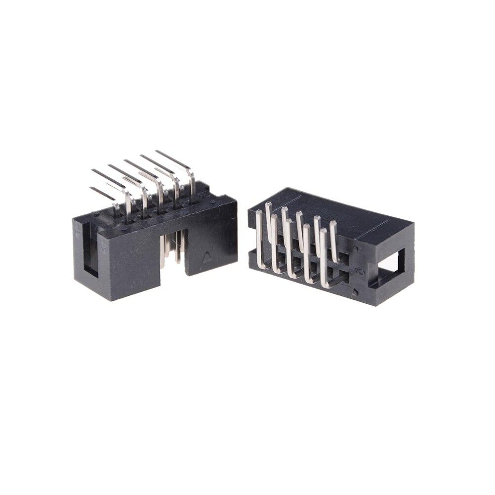 10 Uds conector de cabezales doble espaciado Pin macho IDC caja de enchufe DC3 10 Pin 2x5Pin ángulo recto doble fila paso 2,54mm
