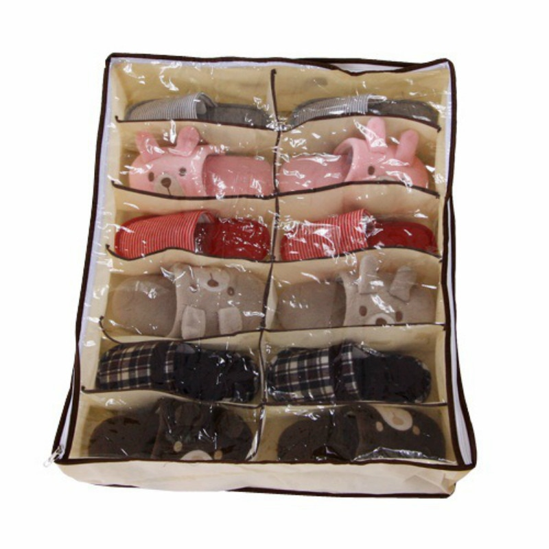1 Uds nuevo armario organizador casa habitación bajo la cama caja de soporte para almacenamiento contenedor caso almacenista para 12 zapatos o zapatillas