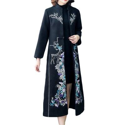 2020 femmes hiver manteau amélioré Style broderie florale x-long ancien vêtements taille large bureau dame Mandarin col Plus Siz