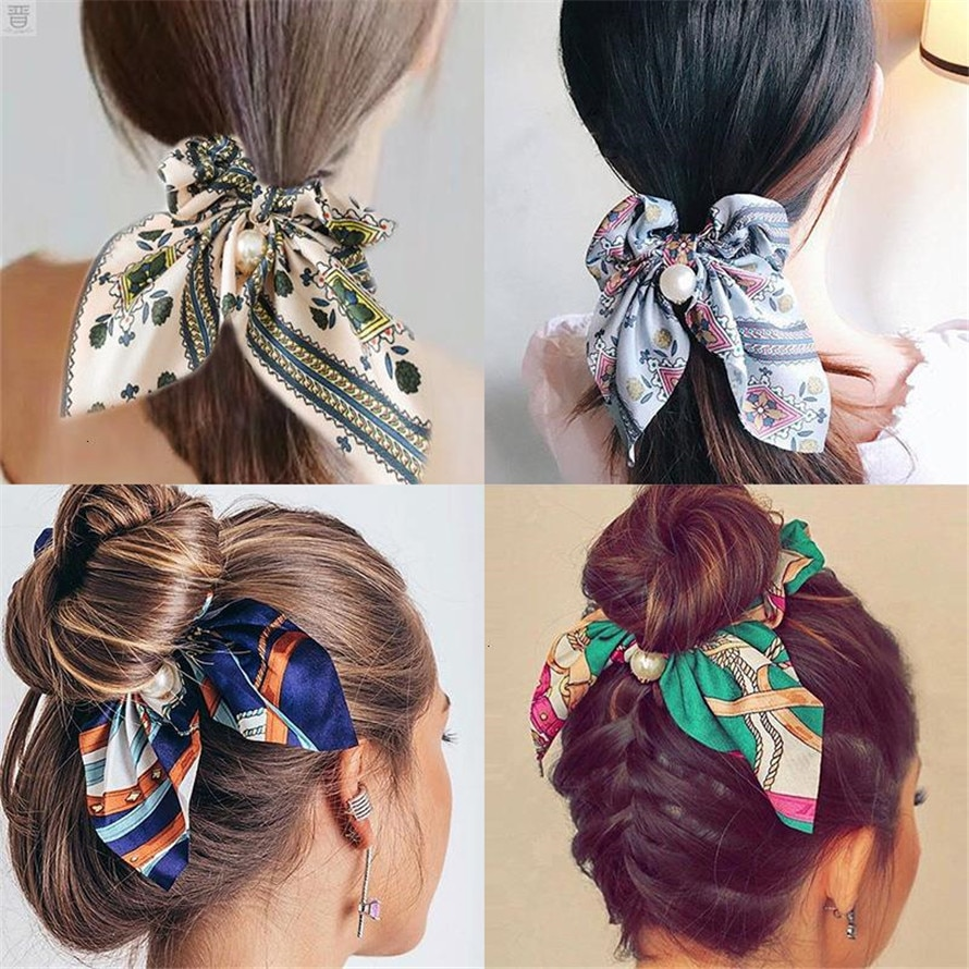 New Women Elegant Vintage Print Bow Knot Pearls Elastic Hair Bands Sweet Headband Rubber Band Scrunchie Fashion Hair Accessories women elastic hair bands rubber tie girl acrylic cherry bow knot dot korean accessories scrunchie headbands wholesale sets