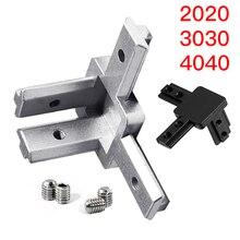 1 zestaw czarny i srebrny wszystkie serie 3-Way koniec uchwyt narożny złącze ze śrubami do Standard T gniazdo wytłaczanie aluminium