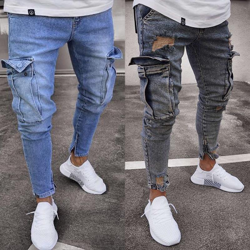 Горячая Распродажа, мужские эластичные джинсы в европейском и американском стиле, модные брюки на молнии с отверстиями для колен, джинсы дл...