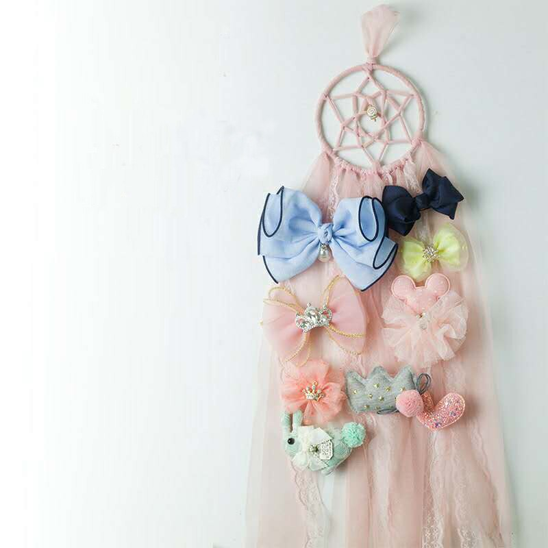 Dream Catcher Girls Hair Bow Hanging Organizer Lace Cute Hairpin Barrette Lucky Kids Room Wall Hanging Decoration Craft