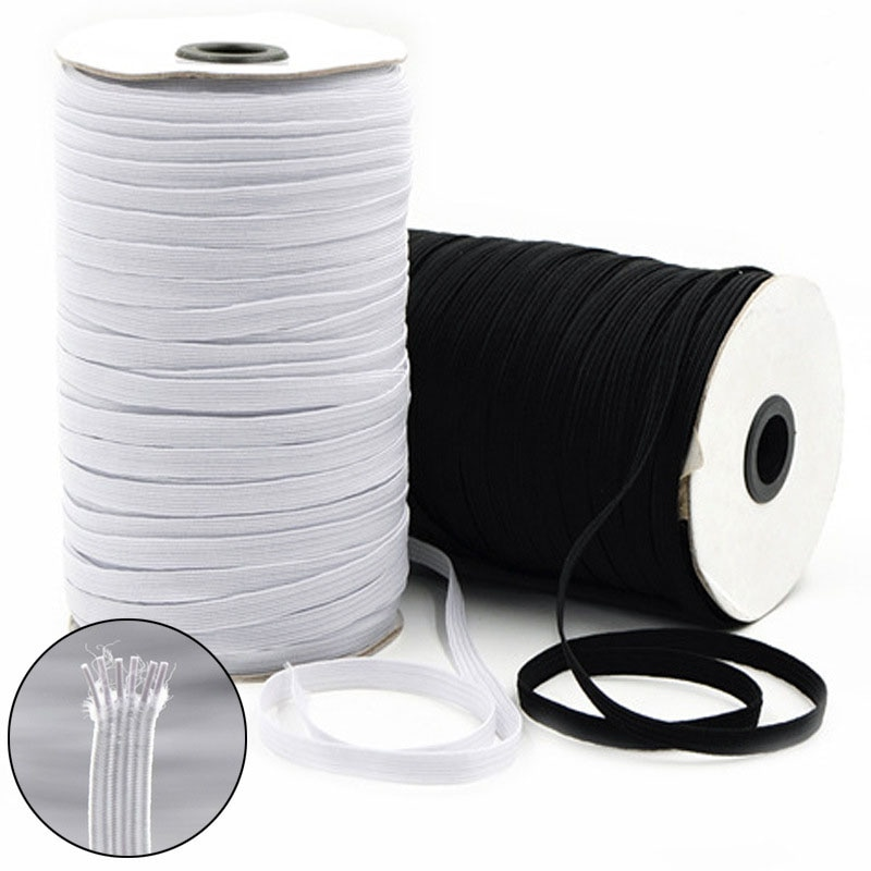 ¡Producto en oferta! Banda elástica de costura de 5 m, blanca y negra de alta elasticidad banda de goma para fiat, Banda de la cintura, cuerda elástica de costura