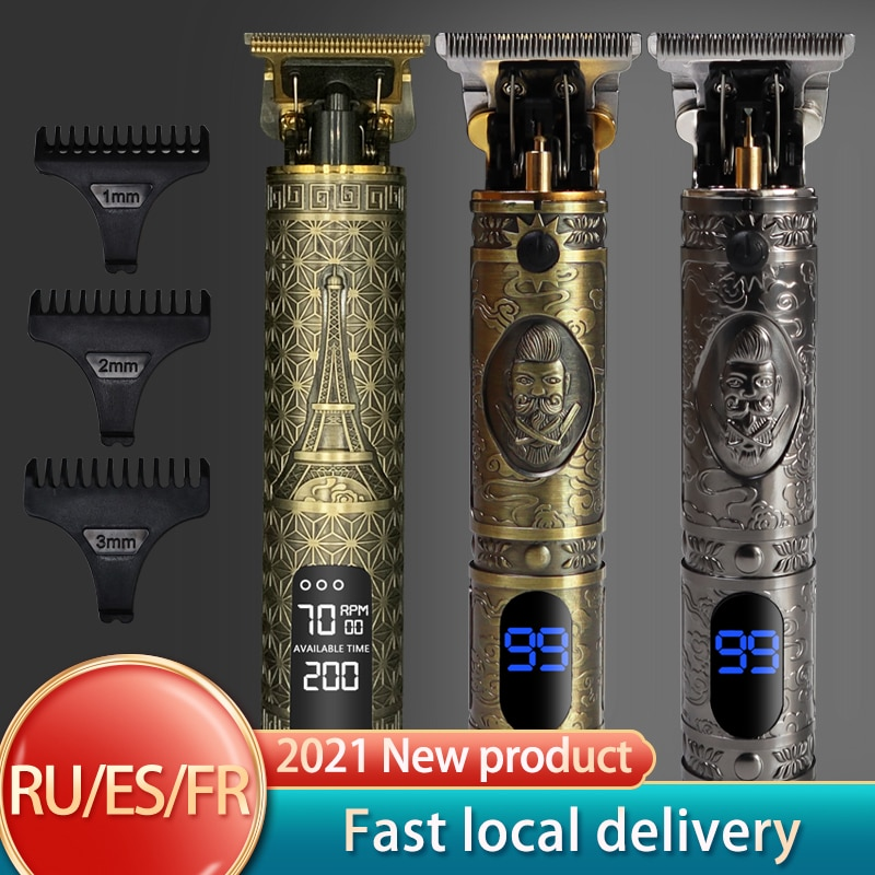 T Hair Clipper Electric hair trimmer Cordless Shaver Trimmer 0mm Men Barber Hair Cutting Machine chargeable timer beard cutter 5