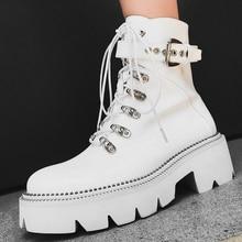 Noir blanc mode cuir bottines femmes épais talons hauts plate-forme bottes automne hiver fermeture éclair moto bottes dames chaussures
