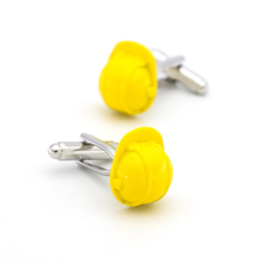 Envío Gratis gemelos para hombre, diseño de casco de seguridad, gemelos de cobre de calidad de Color amarillo, al por mayor y al por menor