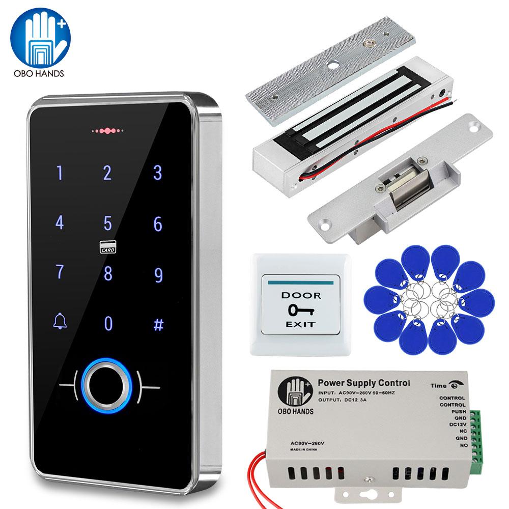 IP68 مقاوم للماء باب نظام التحكم في الوصول القياسات الحيوية تتفاعل لوحة المفاتيح + امدادات الطاقة + 180 كجم أقفال الإضراب المغناطيسي الكهربائية ...
