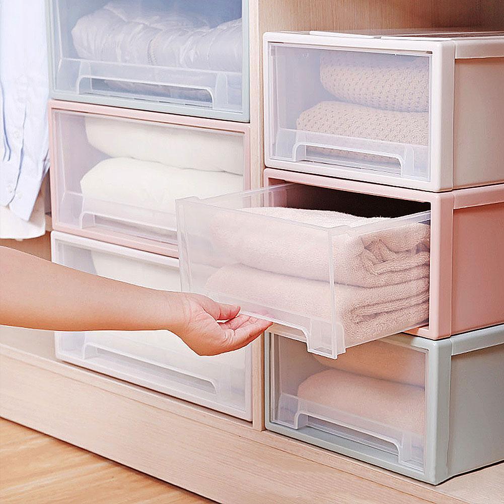 Caixa de plástico para armazenamento de roupas, recipiente para armazenamento doméstico para gavetas, roupas, organizador, armário de poeira