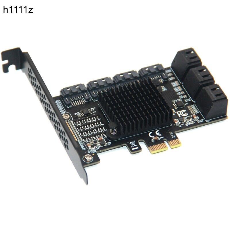 تشي a التعدين 10 ميناء SATA PCI-E محول PCI اكسبرس X1 إلى SATA 3.0 6 جيجابايت في الثانية معدل التوسع بطاقة تحكم مع الانظار قوس