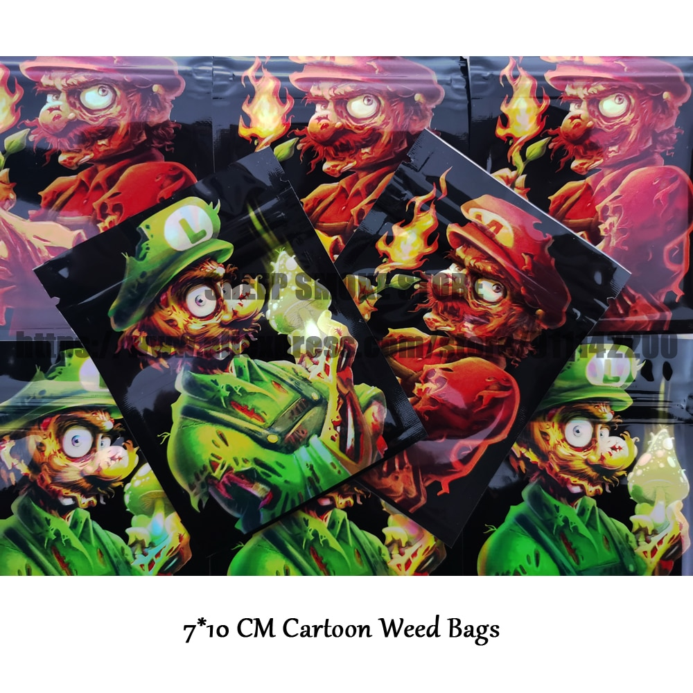 2021 Green Red Cartoon Tobacco Bags Smell Proof Bags Plastic Bags Tobacco Candy Packaging Customized Printed Small Bag Wholesale недорого