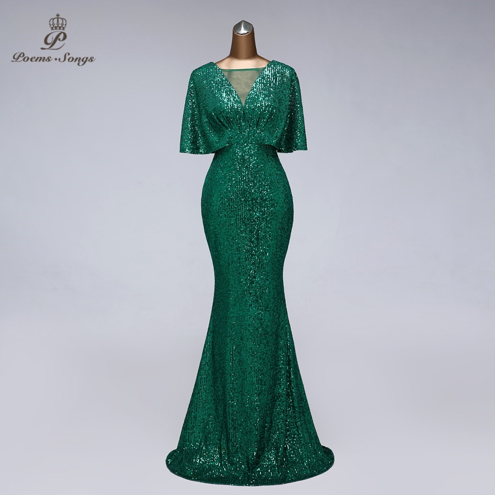 Sexy sequin Evening dress short sleeves vestidos de fiesta green dress evening gowns for women Party