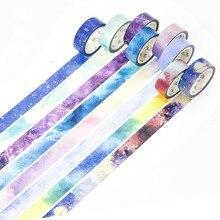 1PCS Blue Starry Sky Washi Tape Sticky Color Decorative Masking Paper Tape Set DIY Decoration Office Stationery Scrapbook