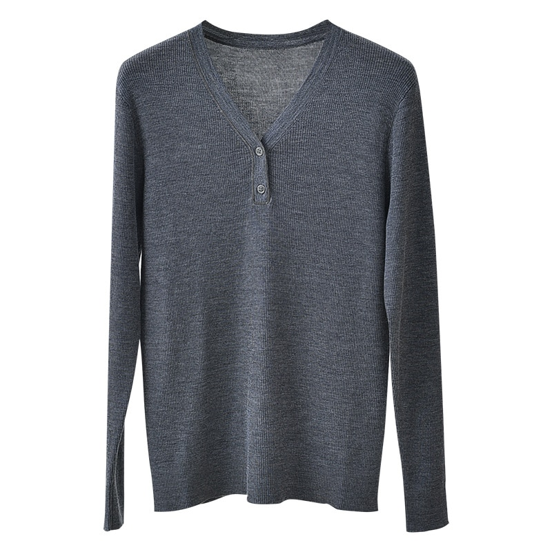 SHUCHAN High Quality Wool Button Slim Sweater Women  V-Neck  Office Lady  Solid  Free Shipping Items Clothes for Women