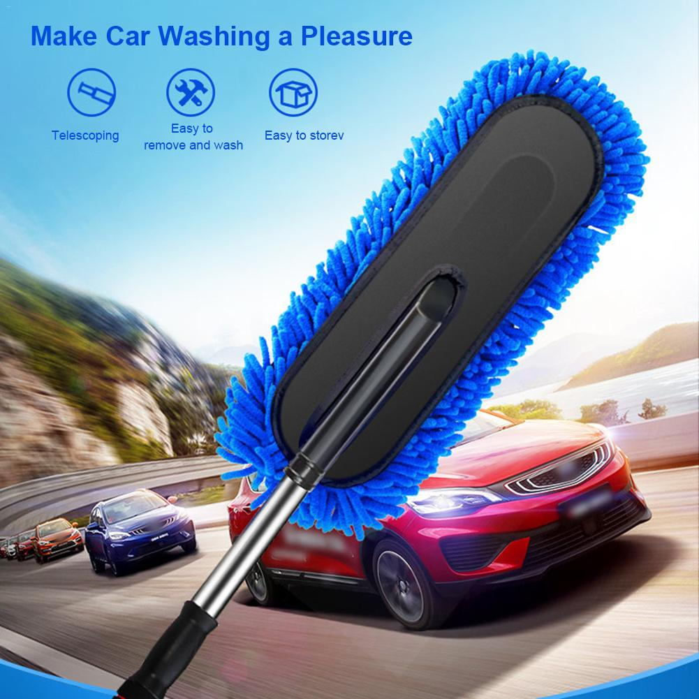 1pc microfiber telescoping car body duster wax dust mop cleaning brush cotton nanofiber car microfiber dust grey brush 13 5x40cm Car Wash Brush Care Mop Adjustable Telescopic Vehicle Car Wash Cleaning Dust Wax Mop Microfiber Dusting Tool Car Accessories