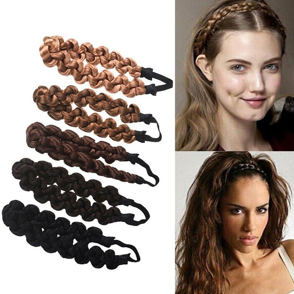 3CM Synthetic Wig Twist Hair Bands Fashion Braids Hair Accessories Women Bohemian Plait Elastic Headband Stretch Bandana Headwea