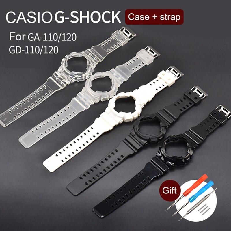 Watch Band Strap Frame Set TPU Wristwatch Strap Case Screwdriver Spring Bar Kit Replacement Accessories For Casio GA-100/110/120