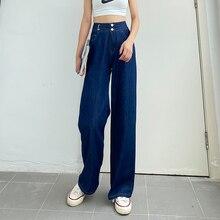GUUZYUVIZ Vintage Blue Pant Jean Women Wide Leg Summer Korean Mom 2020 Jeans Pintados Mujer High Waist Loose Jean Femme