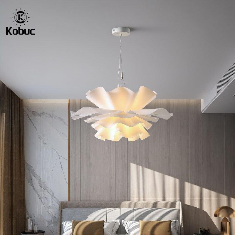 Kobuc إيطاليا زهرة بيضاء قلادة ضوء الشمال رومانسية ديكور غرفة نوم E27 قلادة ضوء لغرفة الرقص قاعة مطعم تركيبات
