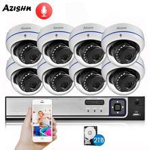 AZISHN Explosion-proof H.265 8CH 4MP POE Security Camera System NVR Kit Audio IP Camera Indoor Outdoor CCTV Surveillance NVR Set