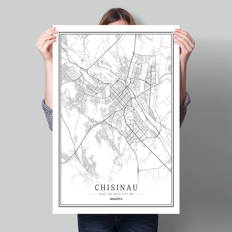 Póster de mapa de ciudades del mundo en blanco y negro de Moldavia, póster nórdico para sala de estar Chisinau Cahul, imágenes artísticas para decoración del hogar, pintura en lienzo