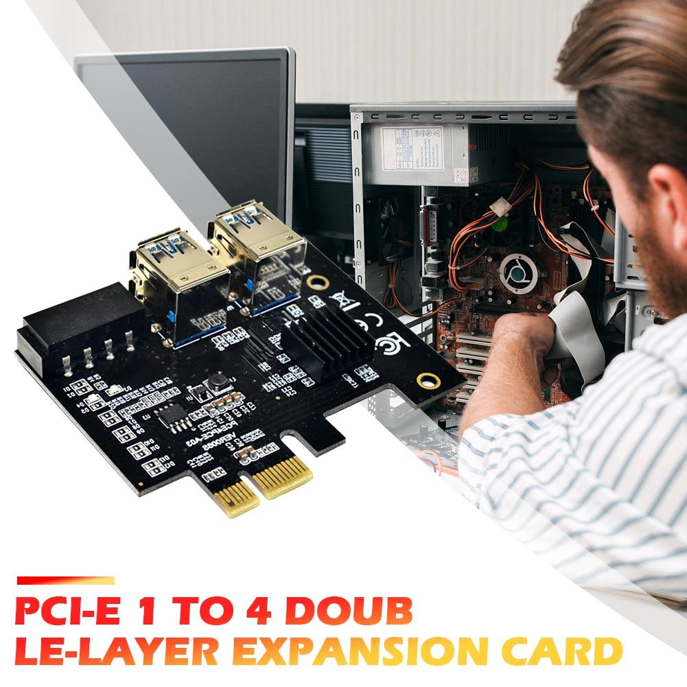 محول PCI-E إلى PCIe PCI-Express 1x إلى 16x بطاقة ناهض للتعدين من 1 إلى 4 USB 3.0 مضاعف مع منفذ طاقة Molex 4 Pin لمنجم BTC