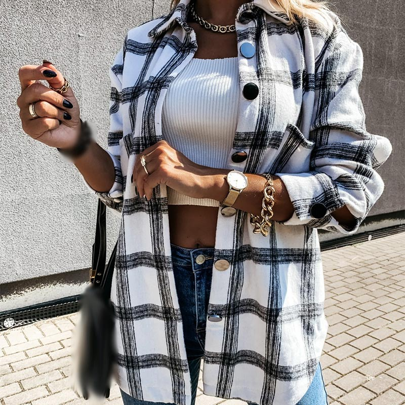 Women Plaid Woolen Long Shirt Check Oversized Long Sleeve Thick Female Shirts 2020 Autumn Casual Loose Streetwear Ladies Tops