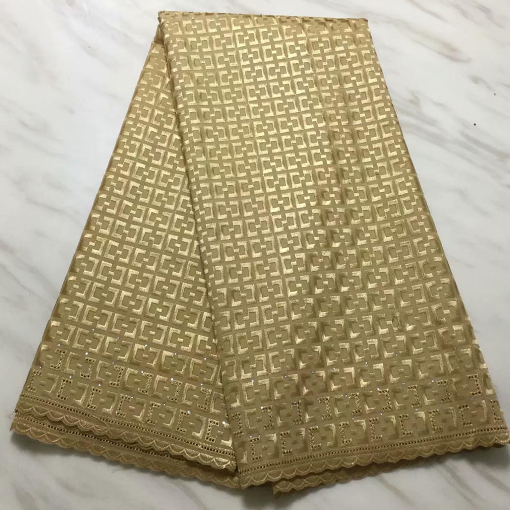 Tecido de Renda Suíço com Pedras Rendas para o Vestido 2021 de Alta Nigeriano Qualidade Voile Lace Polonês 6yards – Lot 5