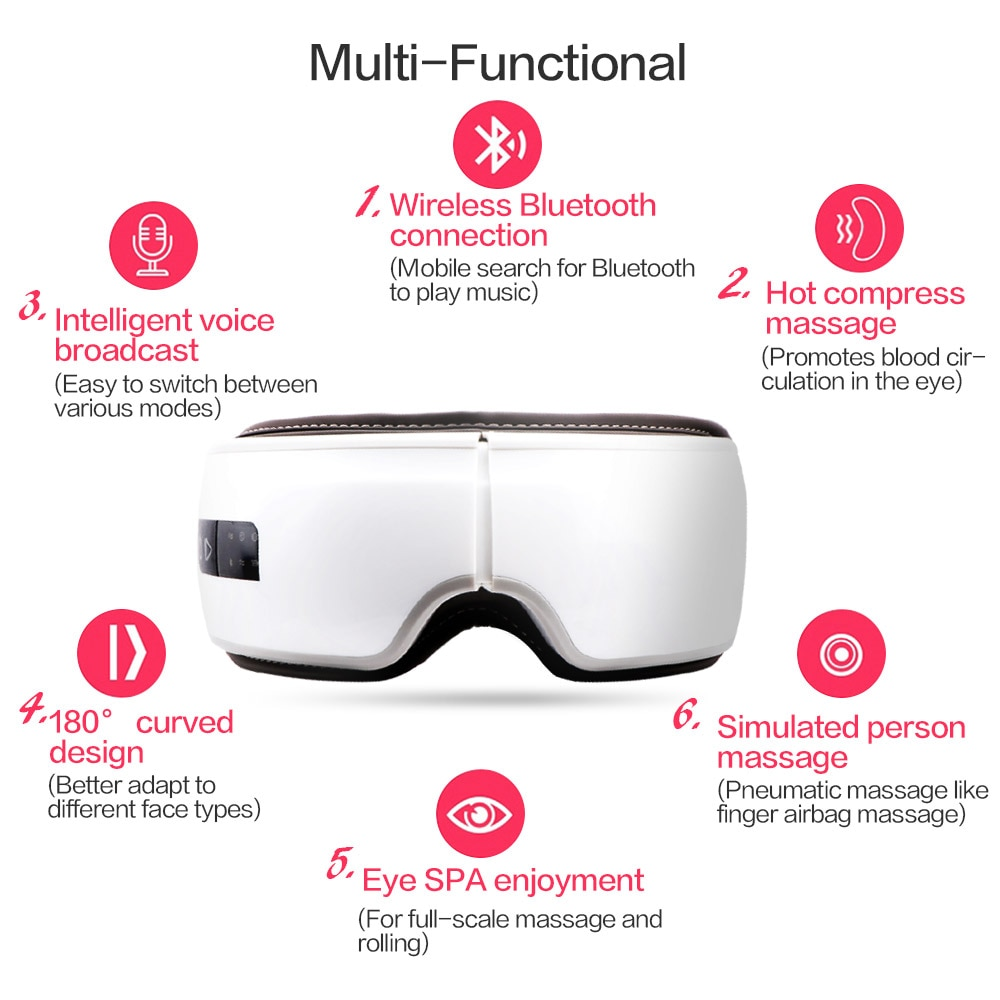 Smart 3D Electric Vibration Eye Massager Wrinkle Fatigue Relieve Hot Compressing Air Pressure Therapy Massage Eye Care Device enlarge