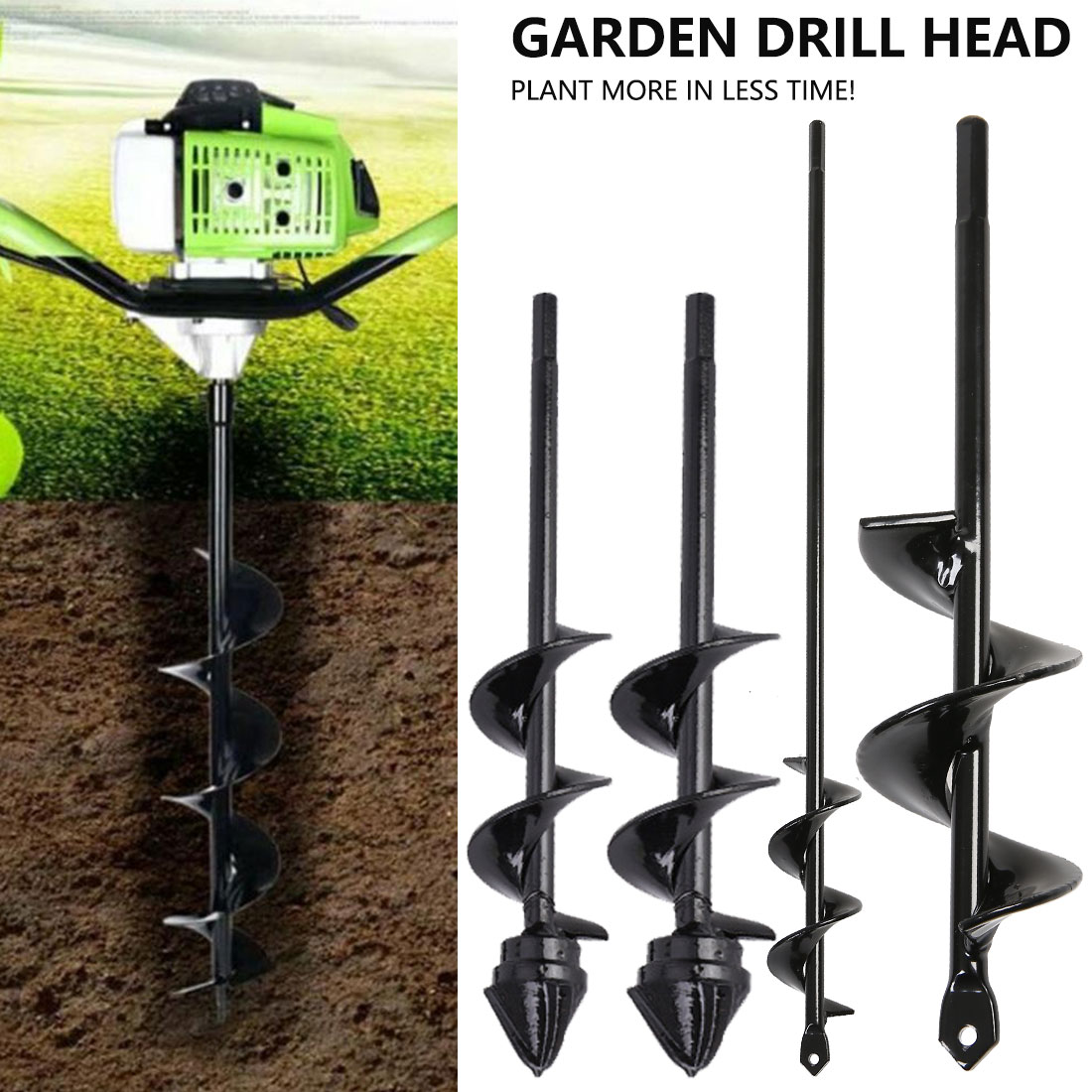6 Sizes Garden Auger Drill Bit Tool Spiral Hole Digger Ground Drill Earth Drill For Seed Planting Gardening Fence Flower Planter