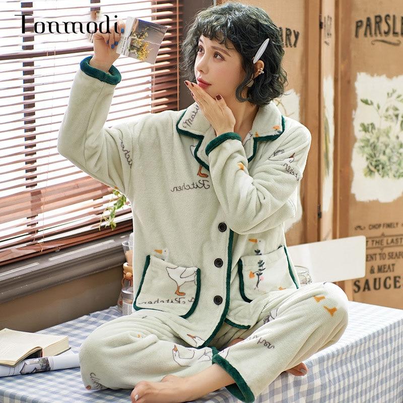 Traje de pijama de invierno pijamas femeninos pijamas de franela cálida de manga larga cárdigan verde menta lindo Animal servicio doméstico sección gruesa