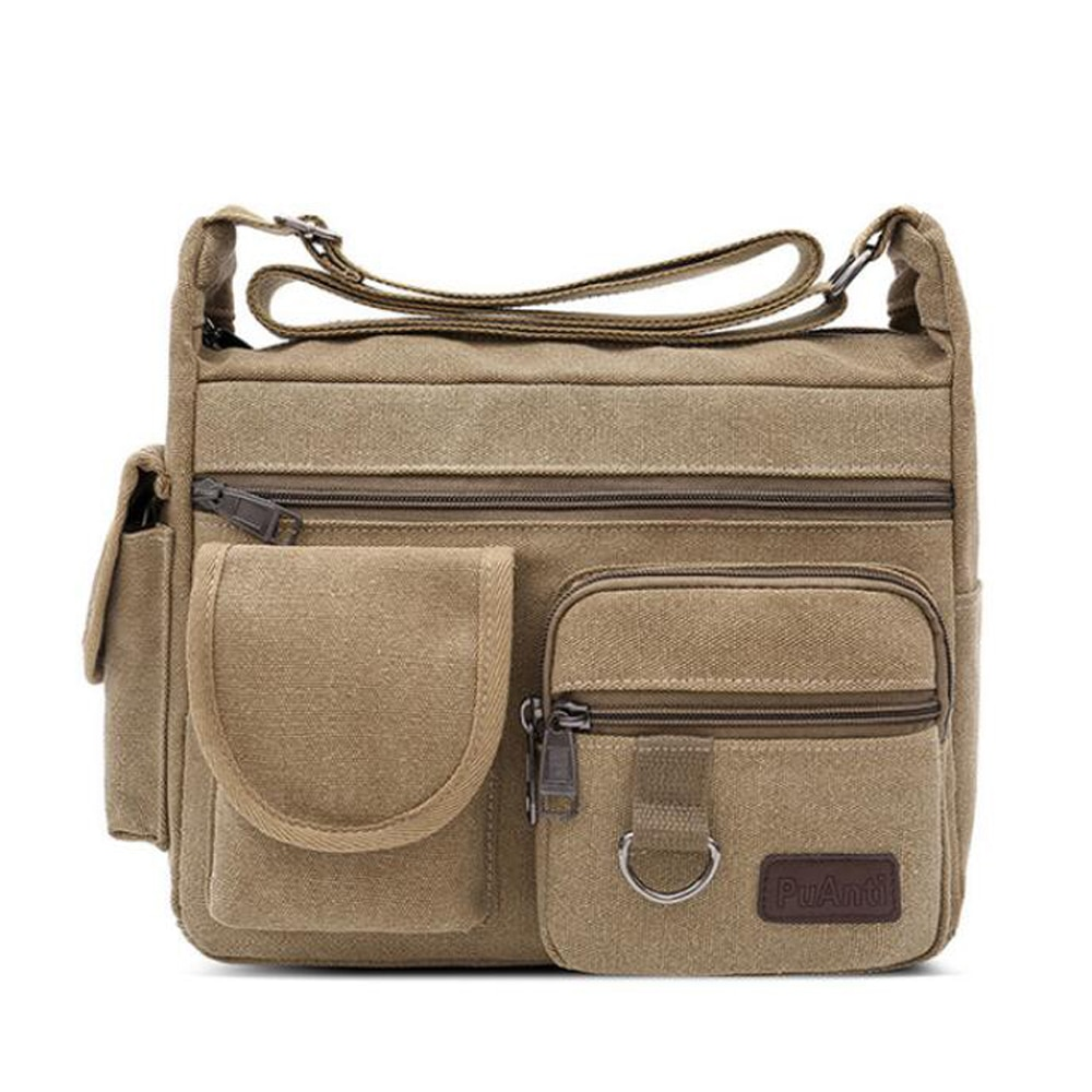 New Military Canvas Leather Crossbody Bag Men Shoulder Bags Travel Satchel Casual Simple Large-capacity Male Messenger Bags three box men messenger bags vintage pu leather handbag satchel school crossbody bag male bolsas casual travel bags 3539