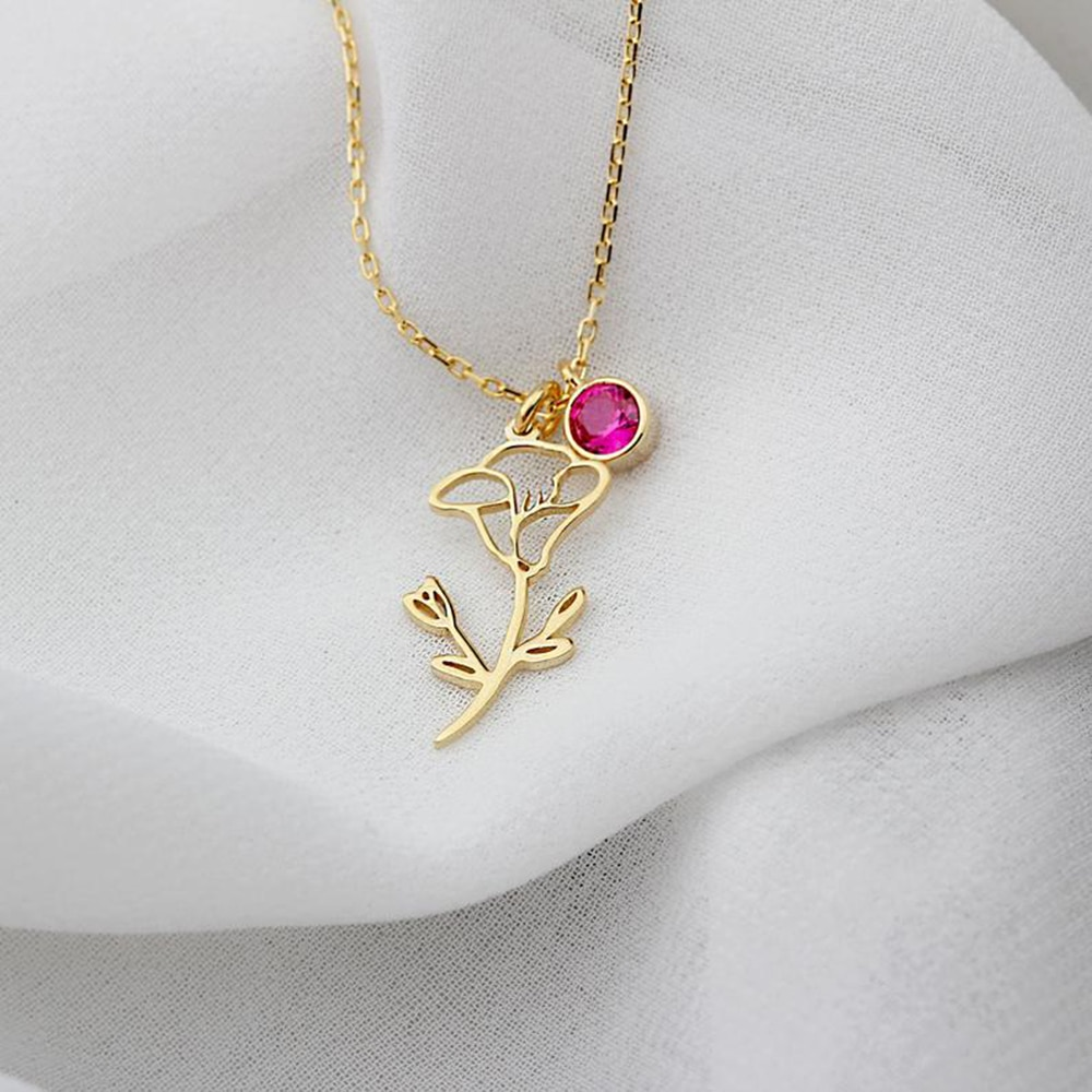Изысканное ожерелье Sherman в виде цветка на день рождения, каменное ожерелье на заказ, ожерелье в виде цветка на заказ