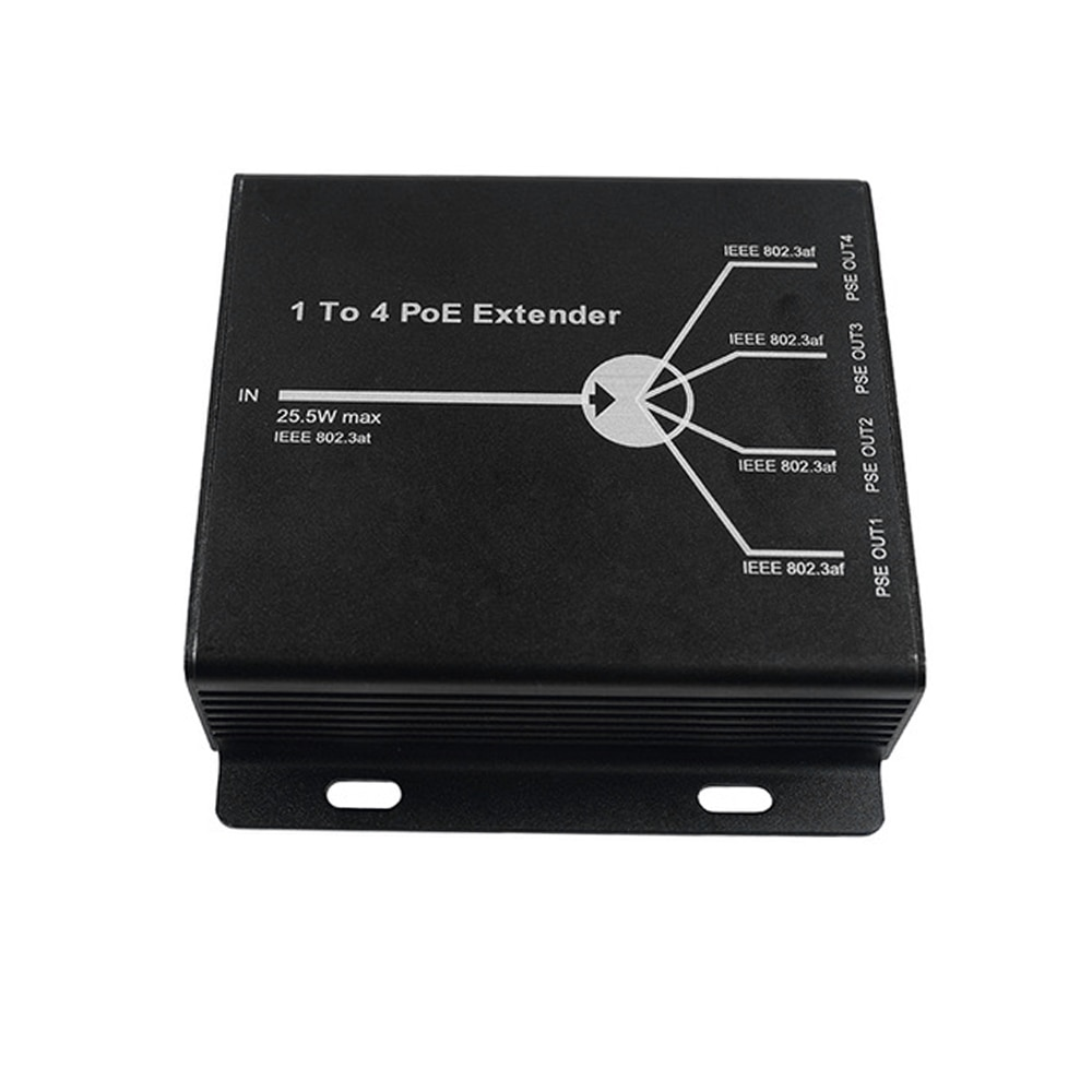 PoE Extender 1-Port 10/100M IEEE802.3at (power-in) to 4-Ports IEEE802.3af (power-out) for POE IP camera system enlarge