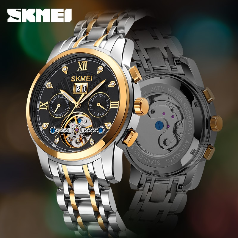 Top Luxury Brand Automatic Watch Men's  Mechanical Watches Fashion Business Wristwatch Date Month Display Clock Stainless Steel