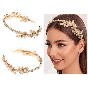 New Design Pearl Leaves Hair Band Handmade Girls Hair Accessories Elegant Women Headband Wedding Party Bridal Hair Hoop Headdres