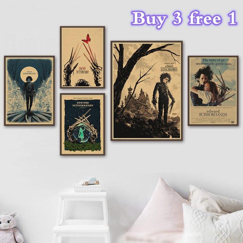 Edward Scissorhands Johnny Depp Movie work Vintage Paper Poster Wall Painting Home Decoration