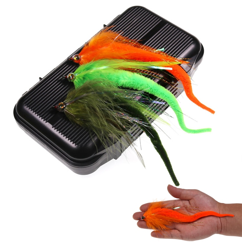 1 caja = 10 Uds. 6 colores de libélula para lubina o Muskie Señuelos de Pesca gran juego cebo de agua salada mosca serpentina anzuelo de pesca 2/0