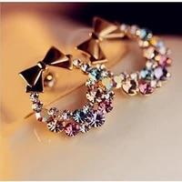 colorful diamond bow earrings womens plated 18k gold earrings