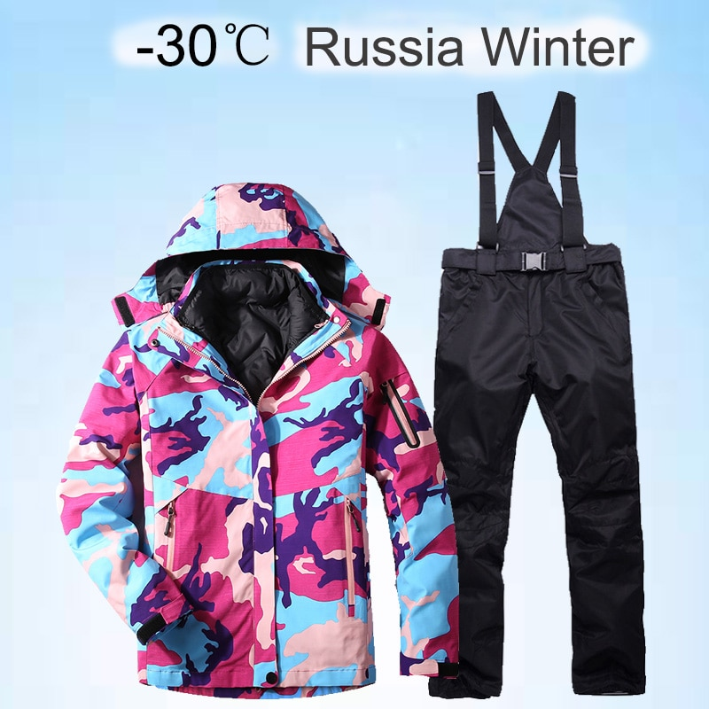 Thick Warm Ski Suit Women Waterproof Windproof Skiing And Snowboarding Jacket Pants Set Female Snow Costumes Outdoor 2 in 1 Wear winter thick warm ski suit women waterproof skiing and snowboarding jacket windproof pants set female snow costumes outdoor wear