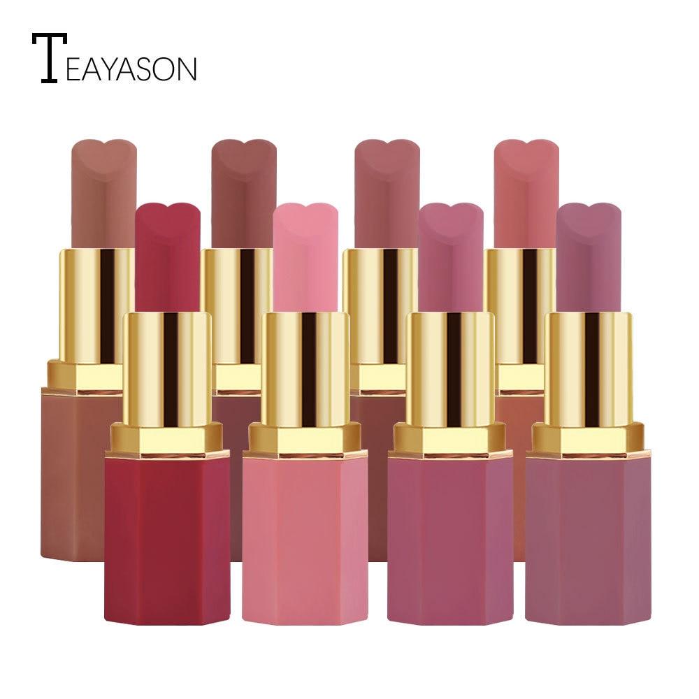 Pintalabios mate en forma de corazón de 12 Colores color rojo terciopelo tinte de labios impermeable tinte Facial maquillaje regalos de cosméticos para mujeres TSLM1