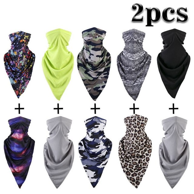 2PCS Thin Breathable Soft Scarf Neck Gaiter Face Cover Bicycle Ski Tube Head Shield Sunscreen Headband Men Women
