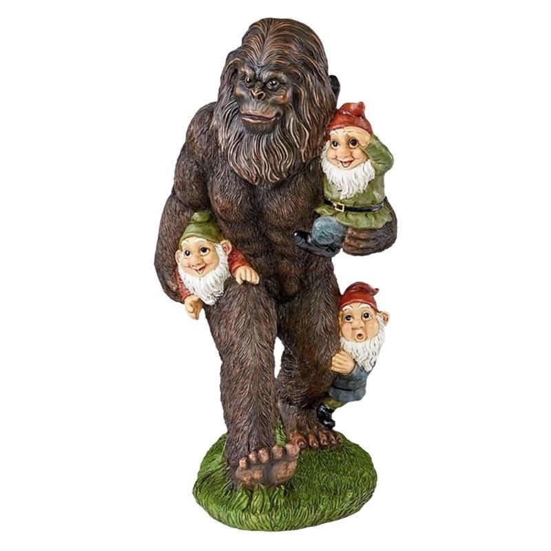 Bear Orangutan Eat Dwarfs Statue Garden Ornament Art Craft Landscaping Yard Sculptures Decoration for Home Garden Patio Porch
