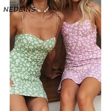 NEDEINS Women Sexy Print Mini Dress Summer Low-cut Lace Suspenders Fresh Beach Dress Party Lady Loose Plue Size Dress