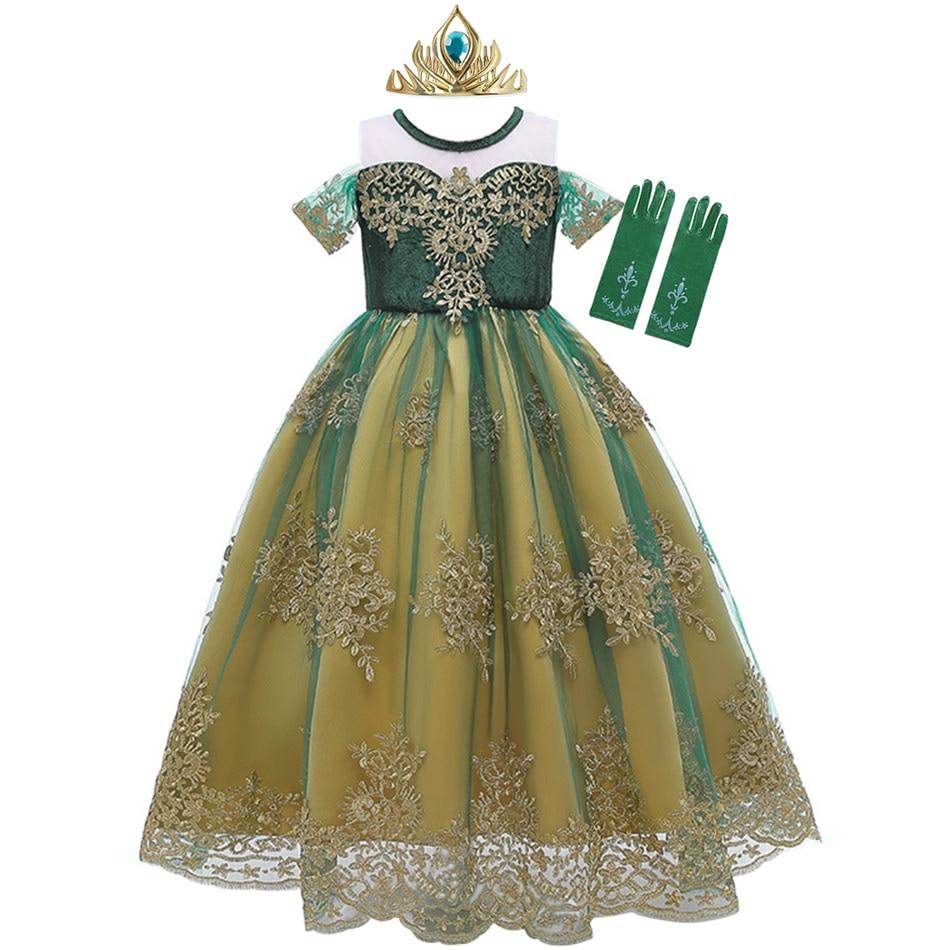 Vestido verde de MUABABY Anna para niña, vestido de princesa de tul de encaje de verano, disfraces de princesa 2-10T, vestido de fiesta de cumpleaños para niños
